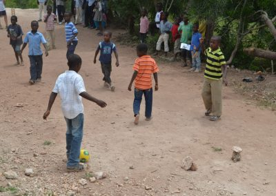students playing soccer